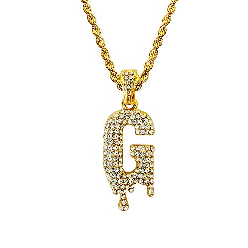 HH Bling Empire Hip Hop Iced Out Bling Crystal Bubble Dripping Initials A to Z Rope Chain 20 Inch (Dripping - Rope Chain D/c