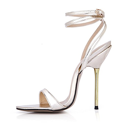 Sandals female summer show simple fine with steel with the high-heel shoes Light gold mirror PU B08xHL8