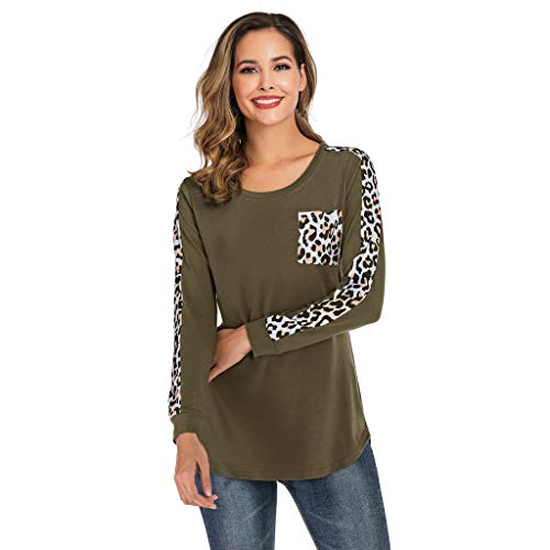 Casual Tunic Blouse Shirt,Londony Womens Long Sleeve Round Neck T Shirts Leopard Causal Blouses Tops with Pocket Army Green