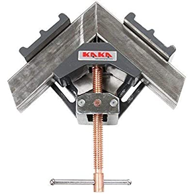 Image of KAKA AC-100 Angle Clamp, Solid Construction, 90 Degree Welding Angle Clamp, Heavy-Duty Cast-Iron Angle Clamp Vice