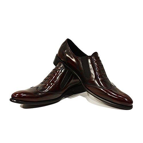Modello Ildefonso - Cuero Italiano Hecho A Mano Hombre Piel Borgoña Mocasines y Slip-Ons Loafers - Cuero Cuero suave - Ponerse