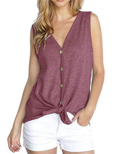 PCEAIIH Womens Henley Blouse Sleeveless T Shirt Tie Front Knot Tops L-Rust Red (Shirt Wings Thermal)