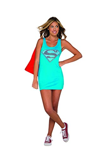 Shows Costumes On Tv Halloween (Rubie's DC Comics Justice League Superhero Style Teen Dress with Cape Rhinestone Supergirl, Blue, Small)