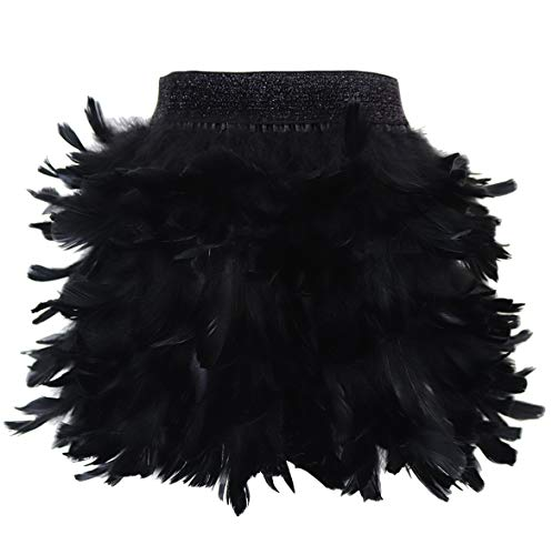 L'VOW Women Real Natural Feather Fashion Mid Waist Mini A-line Skirt (M, X02- Black)