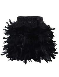 L'VOW Falda de Moda de Plumas Naturales para Mujer, Cintura Media, Minifalda línea A