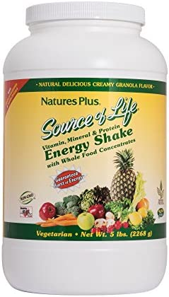 NaturesPlus Source of Life Energy Shake - 5 lbs, Vegetarian Drink Mix - Granola Flavor - Multivitamin, Mineral Protein Powder - Whole Food Meal Replacement - Non-GMO, Gluten-Free - 58 Servings