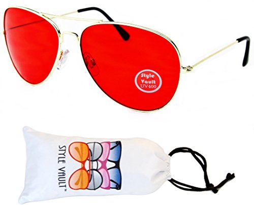 A67-vp Aviator Pilot Colored Lens Metal Sunglasses (B1847F Gold-Red, - Tint Red Sunglasses