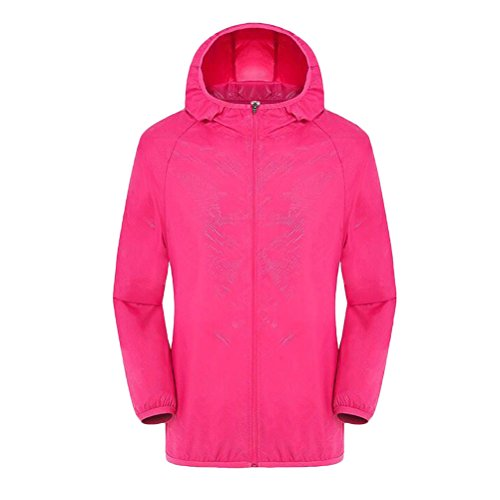 Zhhlaixing Unisex Jacket Windproof Waterproof Breathable Ultralight Cycling Running Rose Red