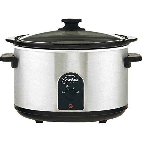 West Bend 85156 6-Quart Round Crockery Cooker, Stainless Steel/Black