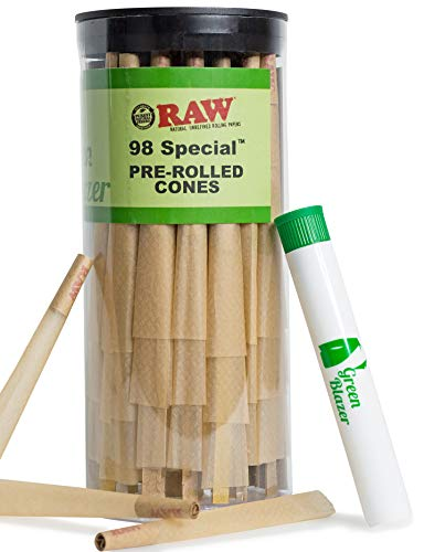 RAW Pre Rolled Cones 98 Special: 100 Pack |Rolling Papers with Filter Tips | Clean & Slow Burning RAW Cone | Bonus Doob Tube Included by Raw, The Green Blazer (Image #5)