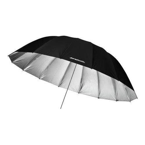 Westcott 7 Feet Silver Parabolic Umbrella BUNDLE with Umbrella Bracket / Adjutsable Flash Mount, 9.5' Black Lightstand by Westcott