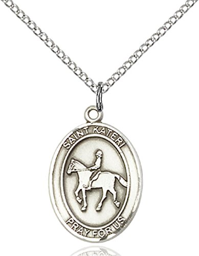 Patron Saints by Bliss Sterling Silver Saint Kateri Equestrian Sports Athlete Medal, 3/4 Inch
