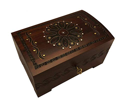 Large Wooden Chest Box w/Lock and Key Polish Handcrafted Jewelry Keepsake (Handcrafted Wooden Jewelry Boxes)