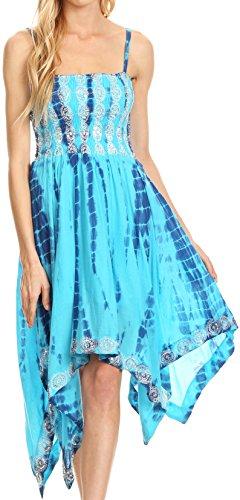(Sakkas 172056 - Endea Tie Dye Smocked Bodice Hi-Low Handkerchief Hem Dress - Turq - OS)