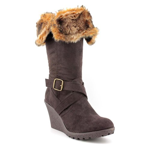 Olivia Chocolat XOXO femmes Brown Faux Fur Boots 5 M US