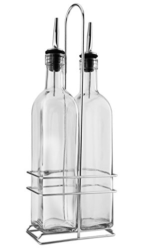 Pour Set Dispenser (Olive Oil Dispenser Set w/ Stainless Steel Holder; Olive Oil / Vinegar / Salad Dressing Bottles w/ Pour Spouts (Set of 2), Oil & Vinegar Cruets with Rack)