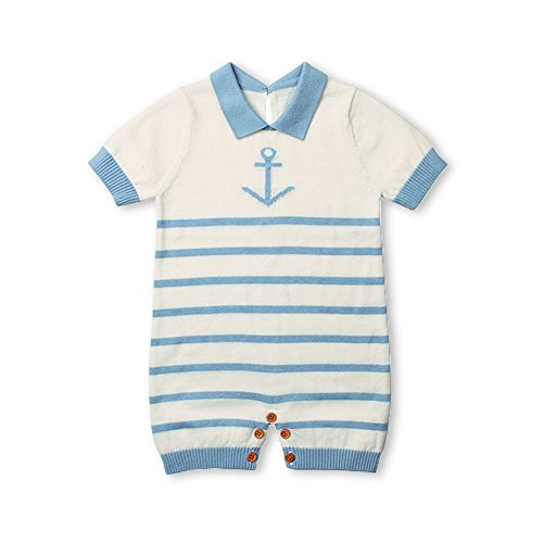 Knit Outfit - MiMiXiong Baby Romper Toddler Navy Clothing Knit Jumpsuit Short Sleeve Sailor Suit (0-6Months,Blue)