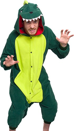 Silver Lilly Unisex Adult Pajamas - Plush One Piece Cosplay Animal Dinosaur Costume (Dinosaur, M) Green]()