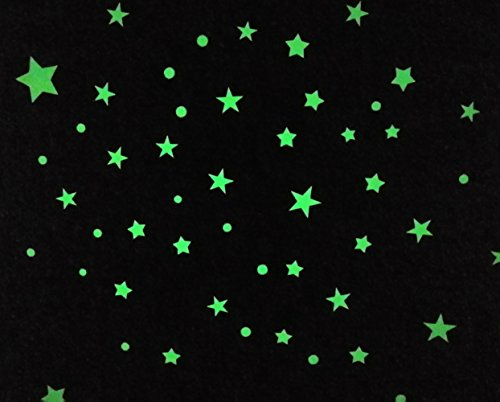 Child Kingdom Glow in Dark Stars and Dots Ultra Bright Ceiling Wall Stickers for Kids Room Dcor, 136 Count