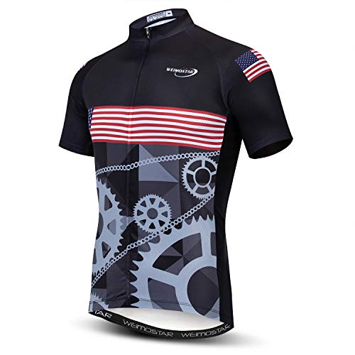 Weimostar Men's Cycling Jersey Short Sleeve Bike Shirt Riding Tops Outdoor MTB Bicycle Clothing USA Gear Size 4XL