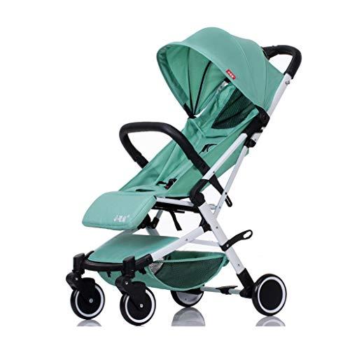 ZCY Sillas de Paseo, Bebé Niño 0-3 Años Antiguo Formar Nacido-15kg Plegable Conveniente Portátil Paseante (Color : Green)