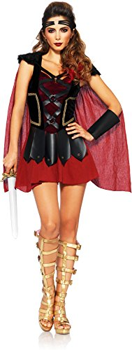 [Leg Avenue Women's 4 Piece Trojan Warrior Costume, Black/Burgundy, Medium/Large] (Trojan Halloween Costumes)