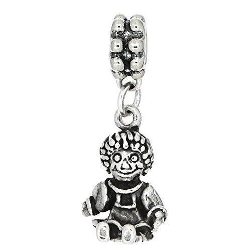 Sterling Silver Oxidized Raggedy Ann Doll European Dangle Bead Charm (Raggedy Ann Charm)