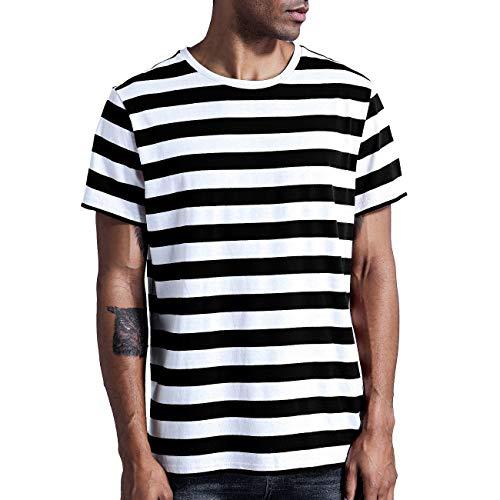 Make Skin Make Bone Mens Striped Shirt Basic Even Stripe Tee Basic Pattern T Shirt Black White XXL