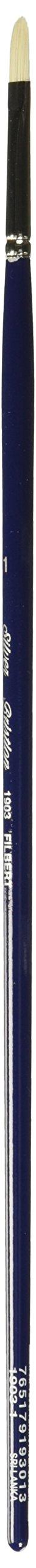 Silver Brush 1903-1 Bristlon Stiff Synthetic Long Handle Filament Brush, Filbert, Size 1