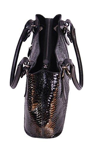 Frauen Feinste Qualität Echtes Leder-Handtasche NEE Schwarz Croc Druck Designer Mode