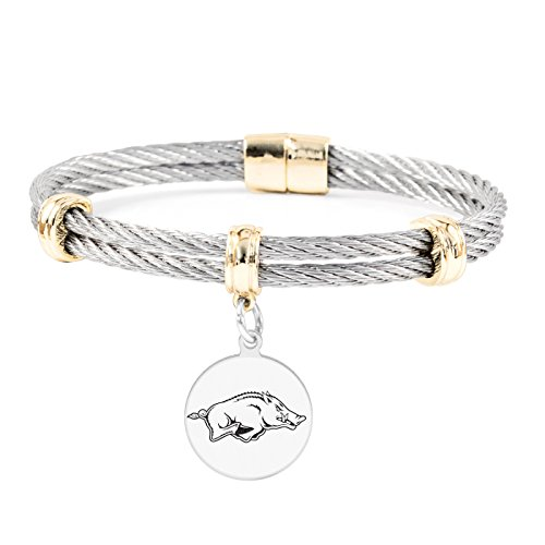 College Jewelry University of Arkansas Razorbacks Round Charm Bracelet | Stainless Steel Magnetic Clasp Bangles