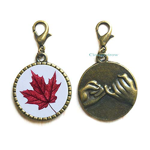 Maple Leaf Zipper Pull,Maple Leaf Lobster Clasp,Maple Leaf,Wedding Jewelry,Grad Gift,Wedding Zipper Pull,Maple Leaf,HO0E284
