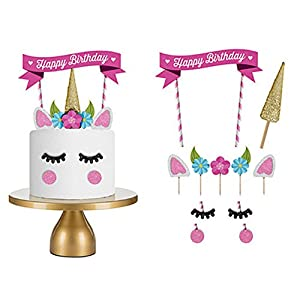 Happy Birthday Cake Topper Unicorn Cake Topper Set Unicorn Party Supplies Flag Decoration for Baby Birthday Party