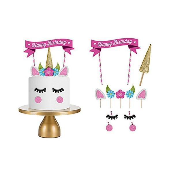 Happy Birthday Cake Topper Unicorn Cake Flag Birthday Party Supplies Cake Decoration for Baby Birthday Party 3