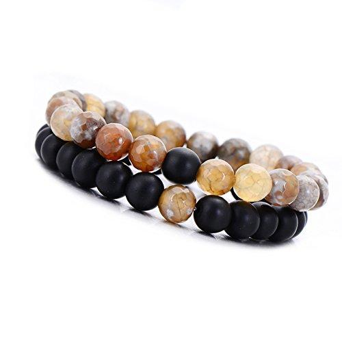 Bead Stretch Set Bracelet (2 pcs/set Distance Friendship Bracelet Couple Jewelry Men Howlite Bead Stretch Bracelet (black brown))
