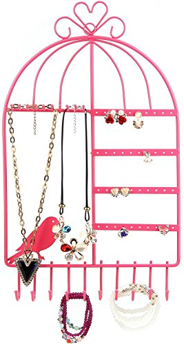 Birdcage Jewelry Organizer Wall Mount Hanging Earring Necklace Holder Inspired Birdcage Jewelry Organizer Display Stand Rack-Huston Lowell (Pink)