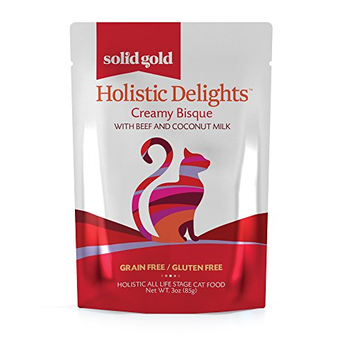 Solid Gold Creamy Bisque Wet Cat Food; Holistic Delights Beef & Coconut Milk, 24ct/3oz pouch