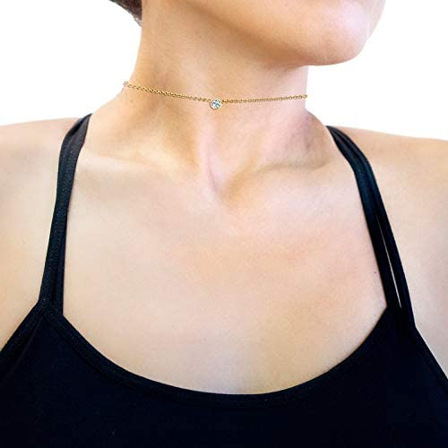 Kobelli White Diamond Bezel Necklace 1/6 Carat, 14k Yellow Gold, Adjustable 13 14 15 Inch