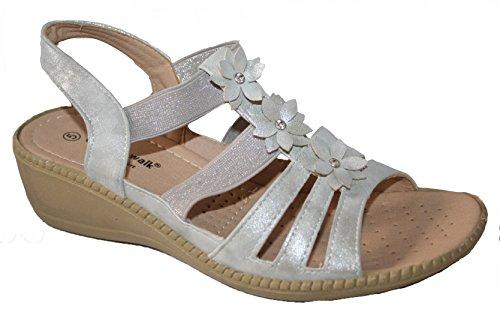 Komfort Slingback Sandale Damen Kissen Elastisch Keilabsatz Leichter Sommer Walk Silber BYHnnWqR1x