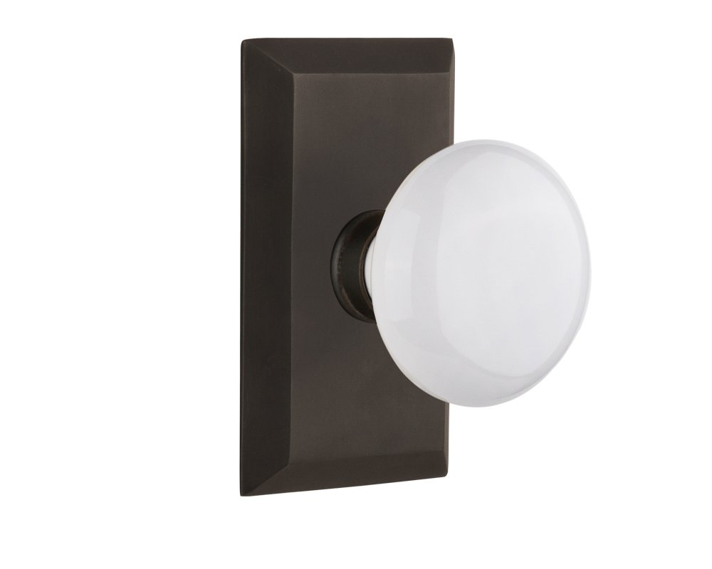 Nostalgic Warehouse Studio Plate with White Porcelain Knob, Passage - 2.375'', Oil-Rubbed Bronze