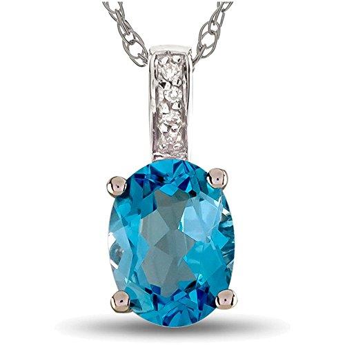 LALI Classics 14k White Gold Swiss Blue Topaz Oval Pendant Necklace ()