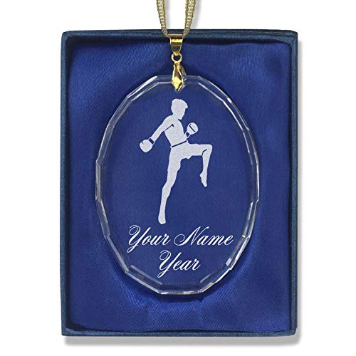 SkunkWerkz Christmas Ornament, Muay Thai Fighter, Personalized Engraving Included (Oval Shape) by SkunkWerkz