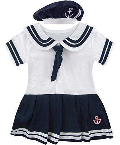 Christening Sailor Suit - COSLAND Baby Girls' 2 Pieces Sailor Dress Bodysuit with Hat (White, 0-6 Months)