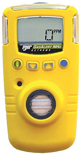BW Technologies GAXT-A2-DL GasAlert Extreme High Range Ammonia (NH3) Single Gas Detector, 0-400 ppm Measuring Range, Yellow ()