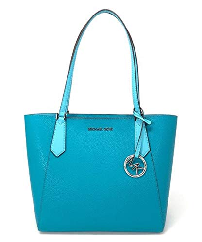 Michael Kors light blue purse | MICHAEL Michael Kors Kimberly Small Bonded Tote PVC Leather Shoulder Bag Tile Blue