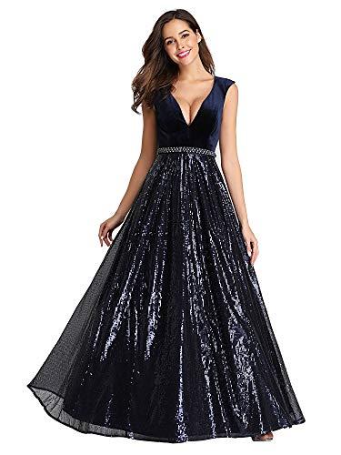 De Robe En Bleu Velours Ever Bustier Femme Cérémonie pretty Longue 07840 Soirée Col V Marine Paillettes faxnHEpBwx