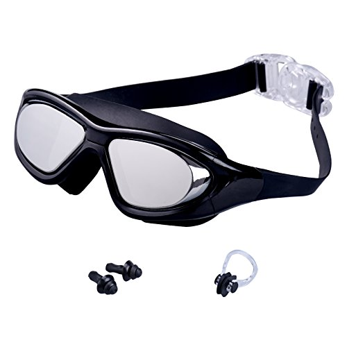 Tensun Swimming Goggles Anti Fog Leak-free UV Protection Clear Lens Adjustable Straps Triathlon Swim Goggles Glasses with Nose Clip, Ear Plugs for Adult Men Women Youth Kids Child - Black