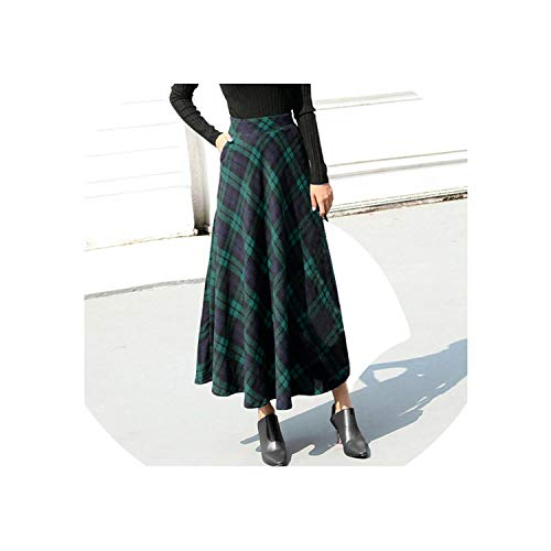 (Plaid Skirt Women Long A-Line Skirt British Style Woolen Plaid Skirts Winter Vintage Wool,Green,S)