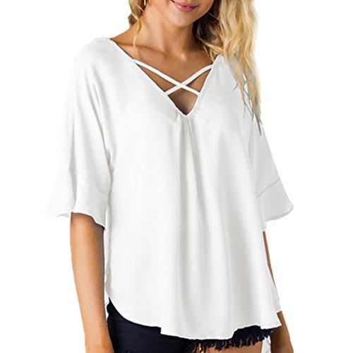 Damen Mode V-Ausschnitt Bandage 3/4-Arm Bluse DOLDOA Oberteile T-Shirt Tops Weiß