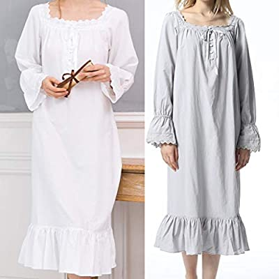 Women's Vintage Pajamas Dress Ruffle Long Sleeve Mermaid Hem Nightgown Solid Lounge Smock Nightwear